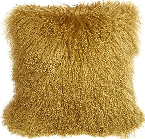 Genuine 100% Tibetan Mongolian Sheepskin Fur Throw Pillow Complete with Pillow Insert (Soft Gold, 18x18)