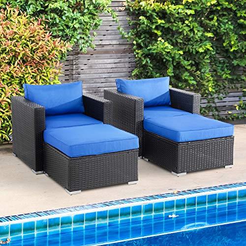 Shintenchi 4-Piece Outdoor Patio Furniture Set, All Weather Wicker Patio Sectional Sofa Set, Wicker Loveseat...