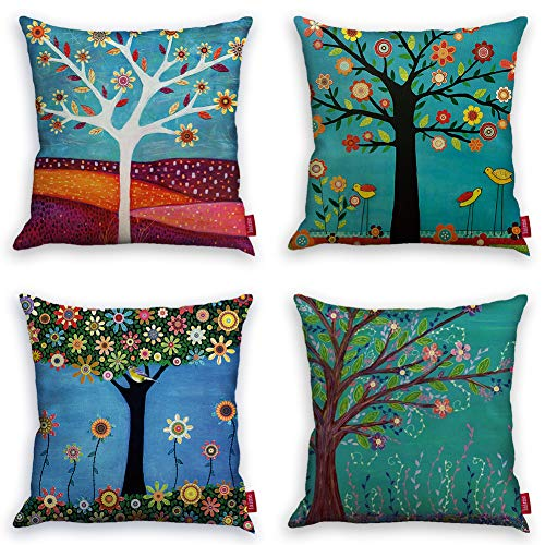 laime Throw Pillow Covers Natural Pattern Decorative Pillowcases 18x18inch (4 Pieces Set) Pillow Cases Home...