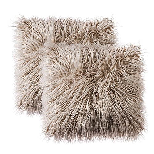 OJIA Pack of 2 Decorative Faux Fur Throw Pillow Cover Accent Soft Plush Boho Mongolian Cushion Case for...