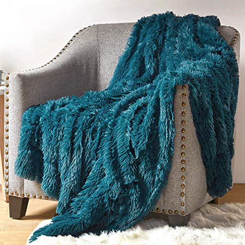 Hyde Lane Fluffy Cute Throw Blankets for Couch Sofa - 2 Way Reversible Ultra Soft Long Faux Fur Couch Throw...